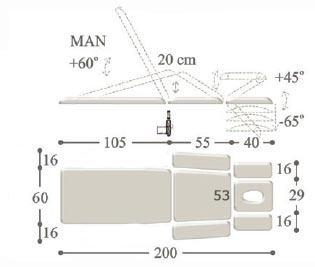 Массажный стол с 2-мя электроприводами professional - 2m