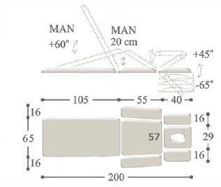 Массажный стол с 2-мя электроприводами professional - 2m. Ширина 65 см