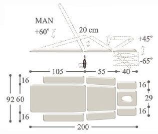 Массажный стол с 2-мя электроприводами ultra-2mx . Ширина 60 см